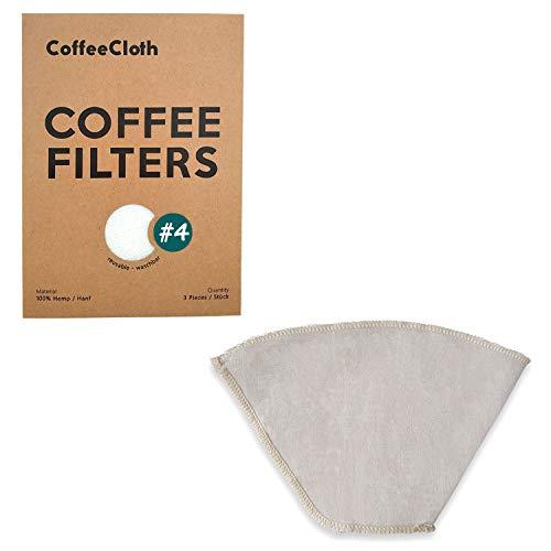 Earthtopia Set de 3 filtres à café réutilisables en tissu | 100% chanvre | Sac-filtres éco pour machine à café et à main | Filtre à café définitif réutilisable et Multi-usage (3, Taille 4)
