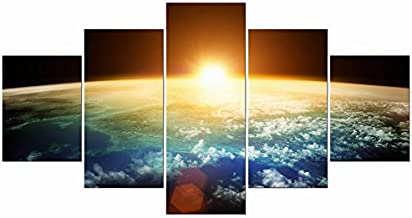 Pyradecor The Earth Large 5 Panels Modern Gallery Wrapped Landscape Giclee Canvas Print Space Pictures Paintings on Canvas Wall Art Work Ready to Hang for Living Room Bedroom Home Office Decor L