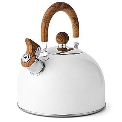 Tea Kettle, VONIKI 2.5 Quart Tea Kettles Stovetop Whistling Teapot Stainless Steel Tea Pots for Stove Top Whistle Tea Pot With Anti-Hot Handle Teakettle White