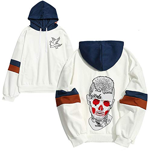 Fhkjhrjlgp Lil Peep Pullover Sweat à Capuche Garder au Chaud en Hiver Manches Longues Tops Pull Casual imprimé Loose Hommes Unisexe (Color : White05, Size : XL)