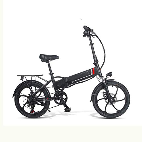 ZHANGY Bicicleta eléctrica 20 LVXD30 48V 10.4AH 350W 25km / h Bicicleta eléctrica Bicicleta eléctrica Plegable 30-40km Kilometraje Control Remoto,Negro