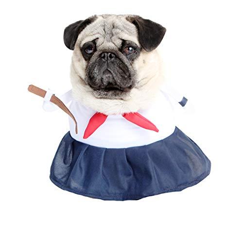 Glamour Girlz Super Leuke Honden Katten Aankleden Halloween Grappig Kostuum Wit Navy School Meisje Uniform, Medium, Meerkleurig