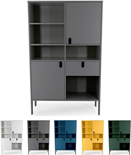 Tenzo 8563-014 UNO Designer Highboard 2 Türen, 1 Schublade, Grau lackiert, MDF + Spanplatten, matt Soft-Close Funktion, 176 x 109 x 40 cm (HxBxT)