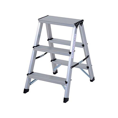 HOMCOM Trittleiter Aluleiter Stehleiter Klapptritt Doppelleiter Haushaltsleiter Leiter Stufenleiter 3 – 5 Stufen (3 Stufen)