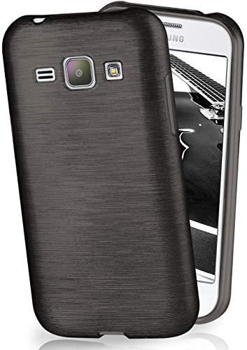 MoEx® Funda de Silicona con Aspecto Aluminio Cepillado Compatible con Samsung Galaxy J1 (2015) en Noir