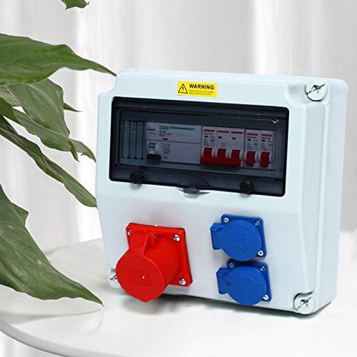 Distribuidor de pared CEE FI, distribuidor de corriente para obras húmedas, con caja de conexión impermeable (2 x 16 A, 230 V + 1 x 400 V, 16 A)
