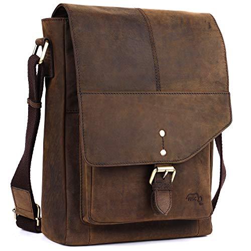 TUSC Pictor Premium Ledertasche für Tablets bis 10,5 Zoll, Seitentasche, Cross-Body Bag, Messenger Bag, Unisex Handtasche, klein Umhängetasche, Mini Schultertasche für Herren Damen 24x30x8 cm