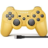 VOYEE Wireless Controller Compatible with Play-Station 3 PS-3, with Upgraded Joystick/Motion & Rumble Control (Gold)