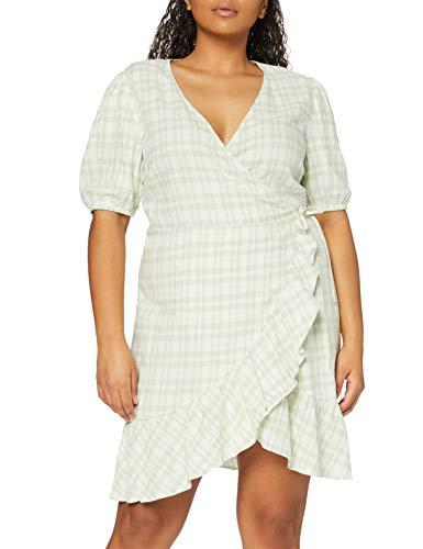 find. Vestido Corto Cruzado de Lino Mujer, Multicolor (Soft Green Check), 40, Label: M