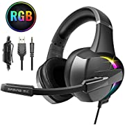 Beexcellent Casque Gaming PS4 , 7.1 Son Surround Casque Gaming avec Anti Bruit 3.5mm Jack Casque Gamer 7 Couleurs RGB LED Réglable Microphone pour PS4/Xbox One/PC Nouvelle Version 2020
