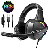 Cuffie Gaming per PS4, Beexcellent Cuffie Xbox One PC Bass Stereo Profondi Cuffie con Microfono Riduzione del Rumore Controllo Volume Confortevole 3,5 mm LED per Laptop Mac Tablet Smart Phone (RGB)