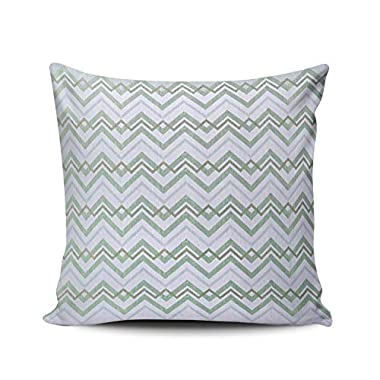JIENIFO Throw Pillow Covers Case Green Gray Zigzag Zoom Decorative Pillowcase Cushion Cover 16x16 inch Square Size One Side Design Printed