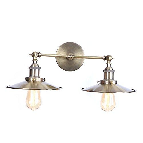 Lámparas de pared de doble cabeza, luces de pared de brazo oscilante plegables ajustables con cabezal de dirección, luminaria de aplique de sala de estudio industrial de metal loft retro,Bronce