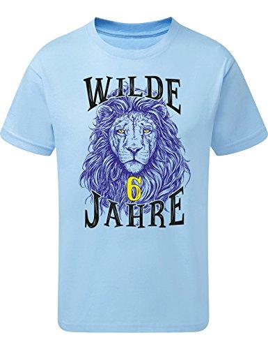 Geburtstags Shirt: Löwe- Wilde 6 Jahre - Junge T-Shirt für Jungen - Geschenk-Idee zum 6. Geburtstag - Sechs-TER Jahrgang 2014 - Lion - Pyjama Sport Trikot - Tiger Tier-e Zoo Cool Blau (146)