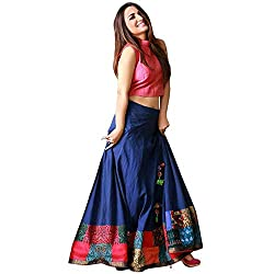 D FASHION GALLERY Womens Tapetta Silk Lehenga Choli (yamini 1, Blue, Free Size)
