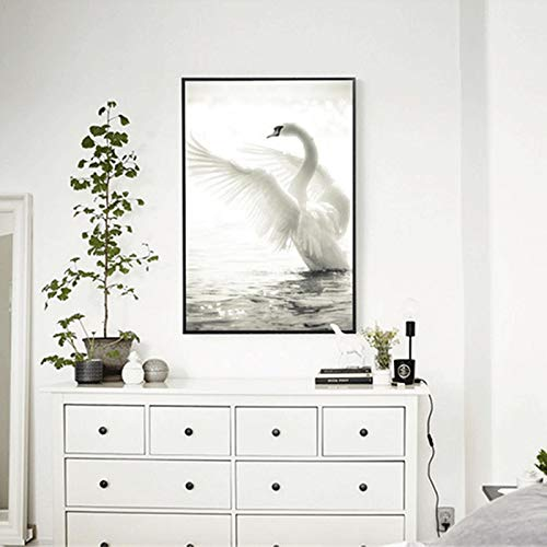 Frameloze zwart-witte zwaan poster canvas frameloze schilderij romantische kunst aan de muur foto voor woonkamer decoratie <> 30x45cm