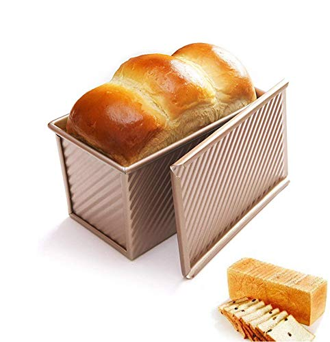 ANGAZURE Toastbrotform, Brotbackform Brot Backen Mit Deckel Antihaft Design Mit Niedrigem Zuckergehalt Kuchen Große Kapazität Brotbackform, 450 Teig