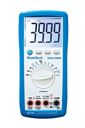 PeakTech 3340 - True RMS Digital Multimeter mit extra großem LCD-Display, 4000 Counts, Handmultimeter, Autorange, REL-Data Hold, Messung, Spannungsmesser, Durchgangsprüfer, Messgerät -CAT III 600 V