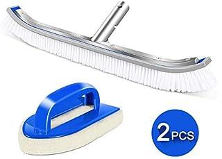 MASTERTOP Juego de Mantenimiento de Limpieza para Piscinas -46cm (18-1pulg.) Cepillo de Limpieza Curvo con Clip EZ + Esponja de Celulosa para Azulejo Pared Suelo