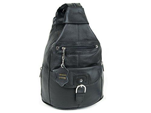 Women Genuine Leather Sling Purse Handbag Shoulder Bag Backpack Slouch Organizer with Free Wayfarer REVO Sunglasses