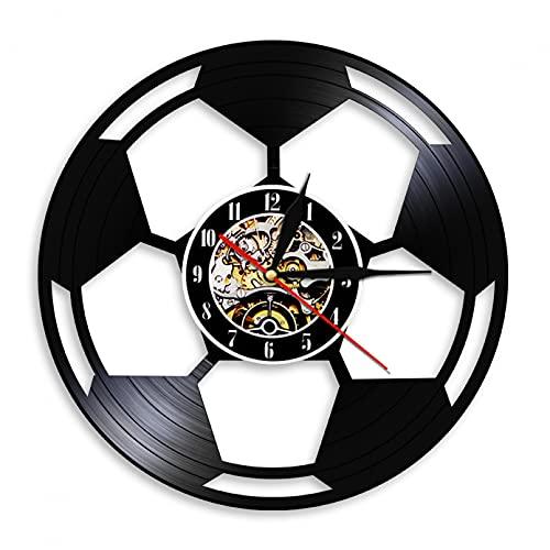 Reloj de Pared Registro de balón de fútbol Personalizado Reloj de Registro de Vinilo Vintage con 7 Colores Luz Luminosa LED Luz de Noche Lámpara de Pared Decoración de Arte de Pared para el hogar