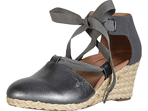 Vionic Women's Aruba Kaitlyn Lace-up Wedge - Ladies Espadrille Wedges with Concealed Orthotic Arch Support Pewter 8 M US