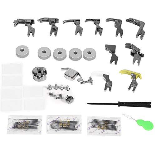 17 juegos de pies de máquina de coser universales Kit de prensatelas industrial con dobladillo estrecho y guía ajustable