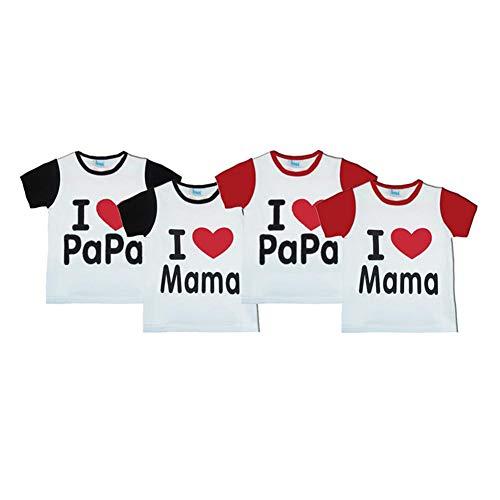 Nearthfr Modèle de Maillot Parent-Enfant I Love Mom and Dad - T-Shirt à Manches Courtes en Forme de Coeur Chemise familiale Blanche