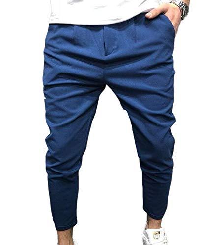 oneforus Pantaloni Invernali da Uomo in Pelle Color Autunno Inverno con Cavallo Basso e Pantaloni da Skateboard