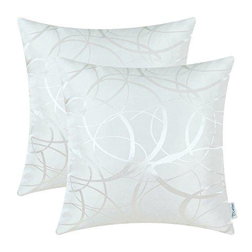 CaliTime Kissenbezüge Kissenhülle Packung mit 2 Wurfkissenbezüge Schalen für Couch Sofa Home Decor Modern Shining & Dull Contrast Circles Ringe Geometric 50cm x 50cm Weiß