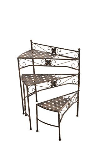 CLP Metall-Blumentreppe Swing mit verstellbaren Stufen | Klappbarer Blumenständer erhältlich, Farbe:Bronze