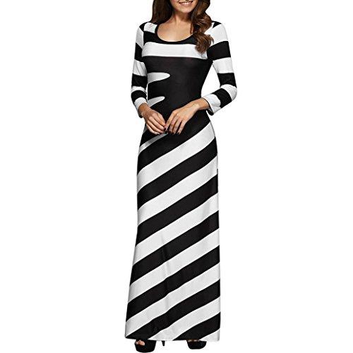 Btruely Kleid Damen Lange Gestreift Sommerkleider V-Ausschnitt Strandkleid Vintage Boho Partykleid Lange Maxikleid Cocktailkleid (S, Schwarz)