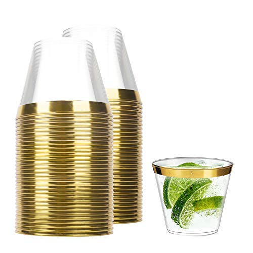 TOROTON 60 Pezzi Bicchieri di Plastica, 250ml Bicchieri da Vino Trasparente Duri, per Picnic Feste Matrimoni - Oro
