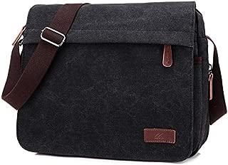 Washed Canvas Retro Fan Men and Women Shoulder Messenger Bag Fashion Computer Bag Trend Boutique Casual Bag JAUROUXIYUJINn (Color : Black)
