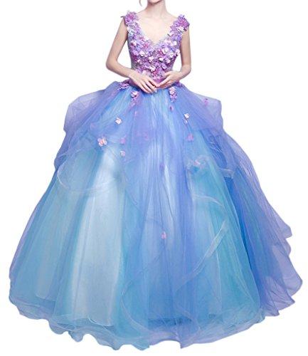 Promgirl House Damen Traumhaft Blumen Prinzessin Ballkleider Abendkleider Festkleider Hochzeitskleider Lang-42 Lila Blau