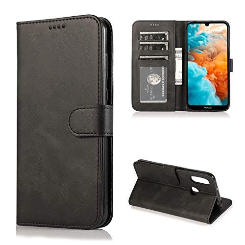 JOYTAG Kompatibel für Huawei Y6 2019 Hülle Flip Wallet Holster PU Lederhülle mit Kreditkarte Schlitz Unterstützung Weicher TPU Silikon Stoßstange Handyhülle-Schwarz