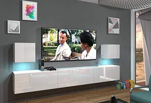 Home Direct Lace N22 1A Modernes Wohnzimmer Wohnwände Wohnschränke Schrankwand Schwarz Weiß Hochglänzend (AN22-18W-HG2 1A (weiß), LED RGB (16 Farben))