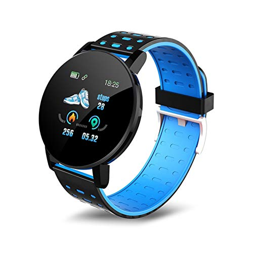 XXY Bluetooth Smart Watch Hombres Mujeres Presión Arterial SmartWatch Sports Wrist Watch Whatsapp Tracker para Android iOS SmartWatch (Color : Blue)