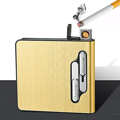 NXW Pitillera con Encendedor Eléctrico Portátil Caben 20 Cigarrillos Finos Largos Encendedor...