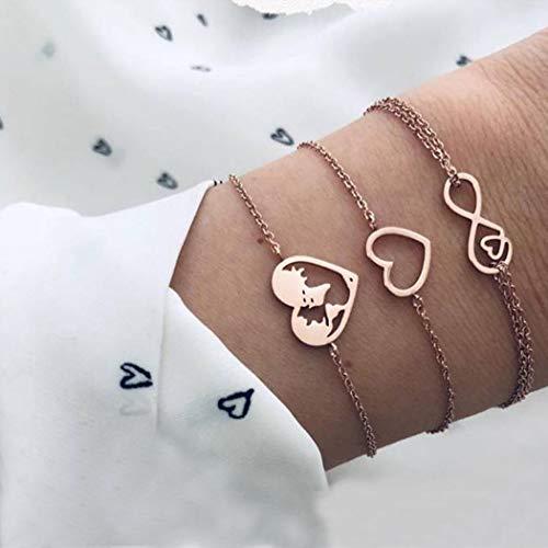 Handces boho flerskiktskartarmband guld hjärta hand tillbehör för evigt hand kedja för kvinnor och flickor (paket med 3)