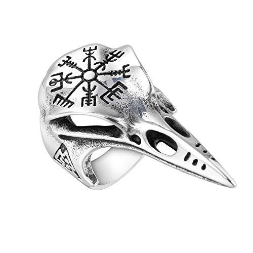 BBYaki Wikinger Krähen Ring 316L Edelstahl Schädel Helm der Ehrfurcht Valknut Kompass Schmuck,13