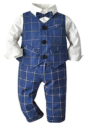 DEMU Kledingsset jongen feestelijk kinderhemd met vlinderdas vest broek Gentleman baby doop pak 70 blauw