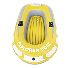 Inflatable Boat, PVC Folding Inflatable Kayak Canoe 2 Person Rowing Air Boat for Fishing Drifting Diving 7 ✔✔【HIGH QUALITY MATERIAL】This boat adopts good quality PVC material, thickness up to 0.3mm, airtight and wear-resistant.The Extra comfortable inflatable seat and the adjustable inflatable backrest provide super support and comfort for long fishing days. Easy to find the most comfortable Backrest angle for enjoying the greatest fishing pleasure. ✔✔【HIGH LOAD-BEARING & GREAT BUOYANCY】Our fishing boat has great buoyancy, allowing you to fish safely and smoothly in the lake. Heavy duty, suitable for two persons to use, load bearing is up to 90kg.The series design is based on safety and reliability. ✔✔【CONVENIENT TO CARRY】Double valve design is good for fast inflation and deflation.The two-way valves allow you to control the air entering and leaving the air bladder.Inflatable design, easy to fold for convenient storage and transportation.With two paddle mounts, can hold paddle for labor-saving paddling.