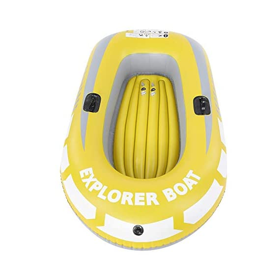 Inflatable Boat, PVC Folding Inflatable Kayak Canoe 2 Person Rowing Air Boat for Fishing Drifting Diving 1 ✔✔【HIGH QUALITY MATERIAL】This boat adopts good quality PVC material, thickness up to 0.3mm, airtight and wear-resistant.The Extra comfortable inflatable seat and the adjustable inflatable backrest provide super support and comfort for long fishing days. Easy to find the most comfortable Backrest angle for enjoying the greatest fishing pleasure. ✔✔【HIGH LOAD-BEARING & GREAT BUOYANCY】Our fishing boat has great buoyancy, allowing you to fish safely and smoothly in the lake. Heavy duty, suitable for two persons to use, load bearing is up to 90kg.The series design is based on safety and reliability. ✔✔【CONVENIENT TO CARRY】Double valve design is good for fast inflation and deflation.The two-way valves allow you to control the air entering and leaving the air bladder.Inflatable design, easy to fold for convenient storage and transportation.With two paddle mounts, can hold paddle for labor-saving paddling.
