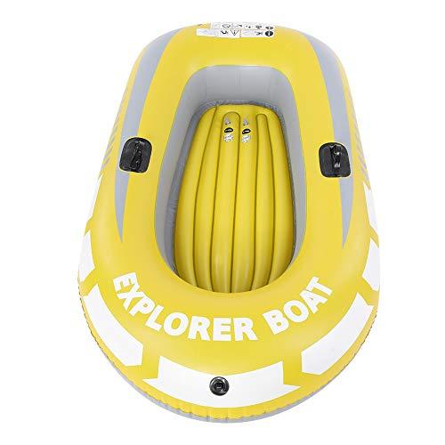 Barco Inflable, Biuzi PVC Resistente al Desgaste Kayak Inflable Canoa 2 Personas Remo Barco aéreo Pesca a la Deriva Buceo Amarillo