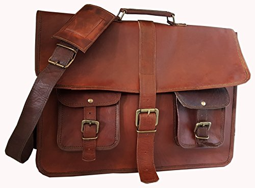18 Inches Leather Messenger Laptop Computer Briefcase Unisex Cross Body Bag