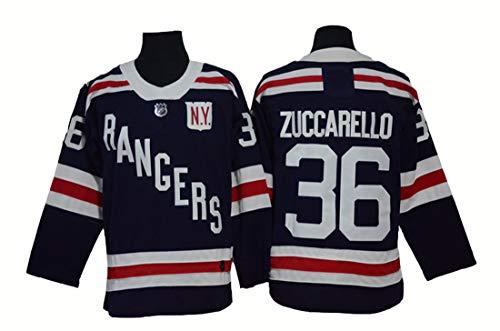 Gmjay Mats Zuccarello # 36 Hockey New York Förster Hockey Blau Genähte Buchstabe-Zahl-NHL-Eishockey-Shirt,Black,M