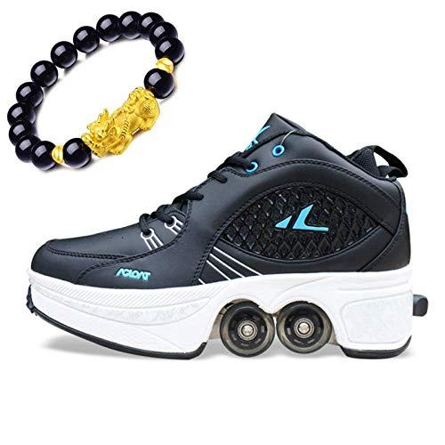 Barm Rollschuhe, Rollschuhe Frauen Quad Rollschuhe Rollschuhe Kinder Rookie Rollschuhe Sportschuhe Inline-Skates Verstellbare 2-in-1-Mehrzweckschuhe, Schwarz-EU39