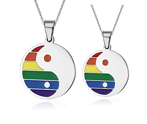 NJ 2 Packs Gay Pride Necklace - Stainless Steel Yin Yang Bagua Couples Pendant Wedding Engagement Anniversary Gay Lesbian LGBT Rainbow Pride Pendant Necklaces for Lover,BFF