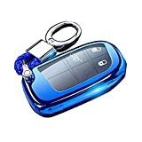 Cacacar for Jeep Dodge RAM Key Fob Cover with Keychain, Premium TPU Protection Key Fob Case for Grand Cherokee Compass Challenger Charger Durango Journey Dart Chrysler Fiat Key Cover,Blue